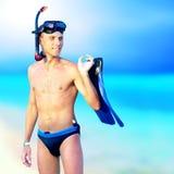 Hombre en el mar Imagenes de archivo