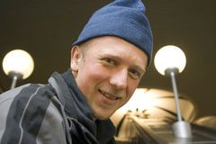 Hombre en el metro de Moscú Fotografía de archivo