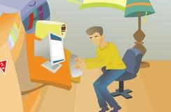 Hombre en el ordenador stock de ilustración