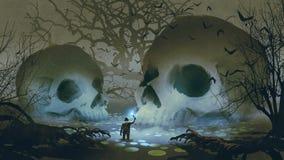 Hombre en el pantano frecuentado ilustración del vector
