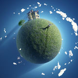 Hombre en el planeta verde ilustración del vector