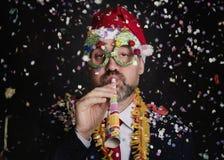 Hombre en el ` s Eve del Año Nuevo Fotos de archivo