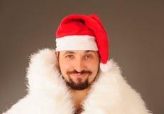 Hombre en el sombrero de Santa Imagen de archivo