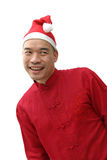 Hombre en el sombrero de santa fotografía de archivo libre de regalías