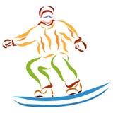 Hombre en el tablero de la snowboard, salto