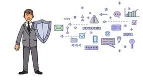 Hombre en el traje de negocios que se protege con un escudo contra símbolos digitales y de la red Protección de datos personal GD libre illustration