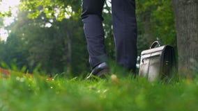 Hombre en el traje que deja su caso en hierba y que corre feliz en el bosque, libertad almacen de metraje de vídeo