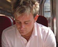 Hombre en el tren Imágenes de archivo libres de regalías