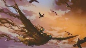 Hombre en el vuelo gigante del pájaro en el cielo stock de ilustración