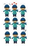 Hombre en emoticons de la nieve nueve diversas emociones libre illustration