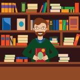 Hombre en fondo con el estante para libros Bibliotecario o vendedor de la librería stock de ilustración