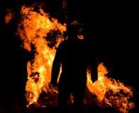 Hombre en fuego Foto de archivo libre de regalías
