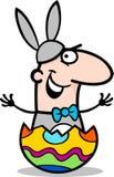 Hombre en historieta del traje del conejito de pascua Imágenes de archivo libres de regalías