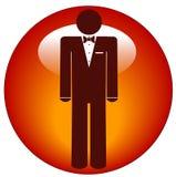 Hombre en icono del smoking en el botón Imagen de archivo