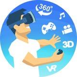 hombre en iconos de VR de una realidad virtual de los vidrios 3d Foto de archivo