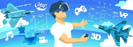 hombre en iconos de VR de una realidad virtual de los vidrios 3d Fotografía de archivo libre de regalías