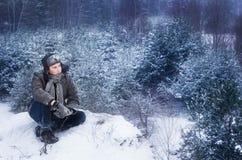 Hombre en invierno Foto de archivo
