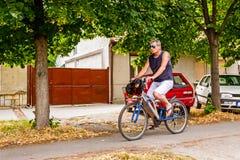 Hombre en la bicicleta con el perro casero en una cesta de la bici Foto de archivo