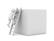Hombre en la caja y la escalera Imagen de archivo