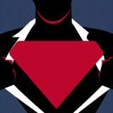 Hombre en la camisa de la abertura de la actitud del superhombre para revelar el logotipo triangular en blanco Silueta masculina  ilustración del vector