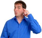 Hombre en la camisa de alineada azul 10 Foto de archivo