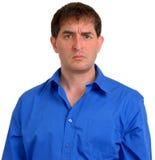 Hombre en la camisa de alineada azul 11 Fotos de archivo libres de regalías