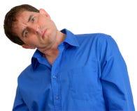 Hombre en la camisa de alineada azul 12 Fotos de archivo libres de regalías