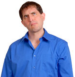 Hombre en la camisa de alineada azul 15 Imagen de archivo