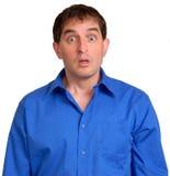 Hombre en la camisa de alineada azul 16 Foto de archivo libre de regalías