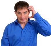 Hombre en la camisa de alineada azul 5 Foto de archivo libre de regalías