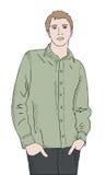 Hombre en la camisa verde, manos en bolsillos Fotos de archivo