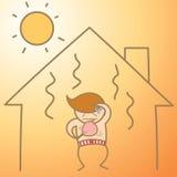 Hombre en la casa del calor Imagenes de archivo