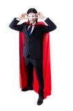 Hombre en la cubierta roja aislada fotografía de archivo libre de regalías