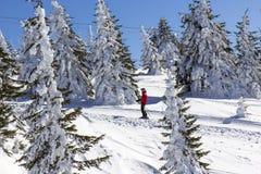 Hombre en la elevación de esquí foto de archivo libre de regalías