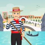Hombre en la góndola en Venecia libre illustration
