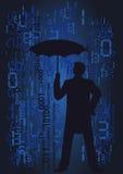 Hombre en la lluvia de números. Imagen de archivo libre de regalías
