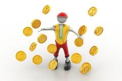 Hombre en la lluvia del concepto de la moneda de oro Fotografía de archivo libre de regalías
