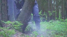 Hombre en la motosierra uniforme de madera del sawing metrajes