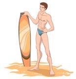 Hombre en la playa con la tabla hawaiana libre illustration