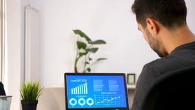 Hombre en la sala de estar que mira la carta animada del análisis de datos metrajes
