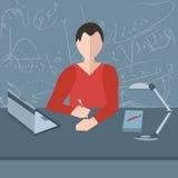 Hombre en la tabla, ordenador portátil, lámpara, libro libre illustration
