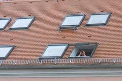 Hombre en la ventana Imágenes de archivo libres de regalías