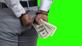 Hombre en las esposas que sostienen el dinero, opinión de la parte posterior metrajes