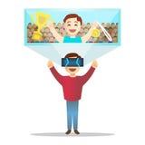 Hombre en los vidrios de alta tecnología futuristas para la realidad virtual Vector Imagen de archivo libre de regalías