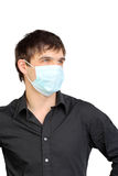 Hombre en máscara de la gripe Foto de archivo libre de regalías
