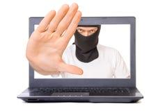 Hombre en máscara negra en la exhibición imagen de archivo
