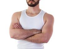 Hombre en maqueta de la camiseta Fotografía de archivo