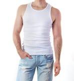Hombre en maqueta de la camiseta Fotos de archivo
