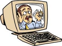 Hombre en monitor del ordenador Imagen de archivo libre de regalías
