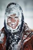 Hombre en nieve Imagen de archivo libre de regalías
